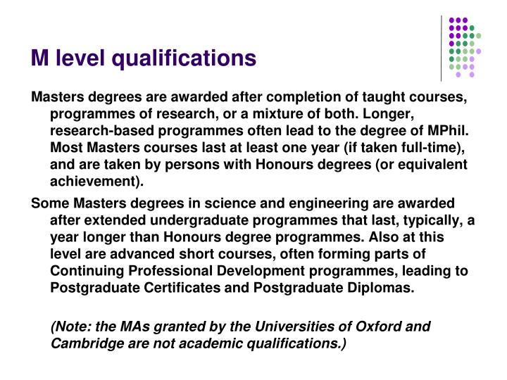 M level qualifications