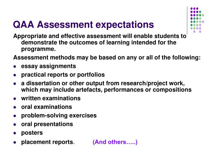 QAA Assessment expectations