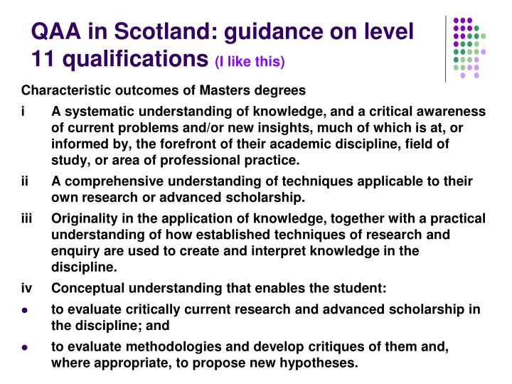 QAA in Scotland: guidance on level 11 qualifications