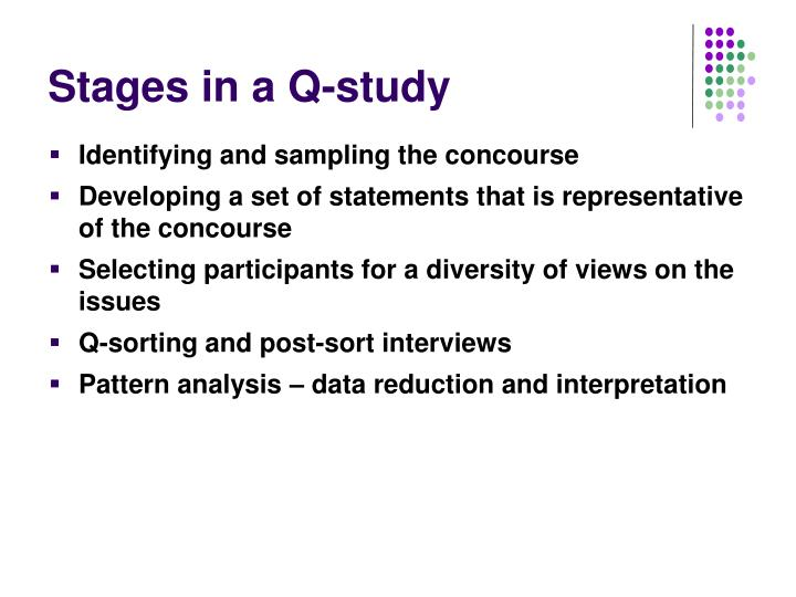 Stages in a Q-study