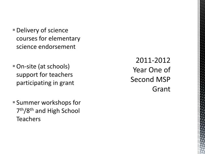 Delivery of science courses for elementary science endorsement