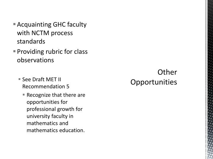Acquainting GHC faculty with NCTM process standards