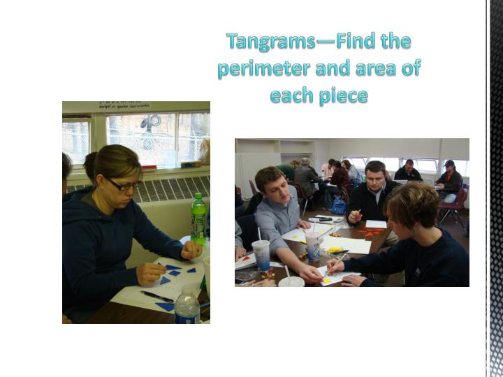 Tangrams—Find the perimeter and area of each