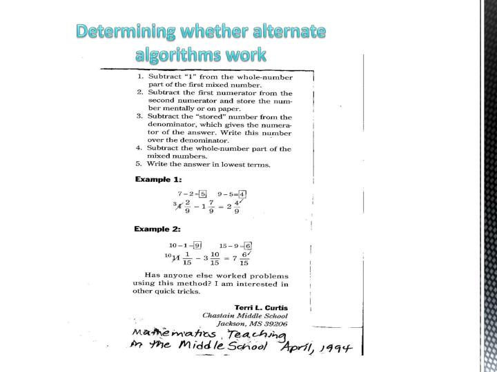 Determining whether alternate algorithms work