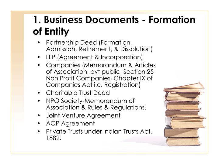 1. Business Documents - Formation of Entity