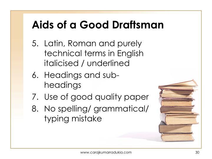 Aids of a Good Draftsman