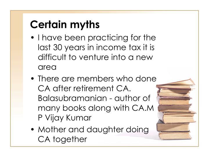 Certain myths