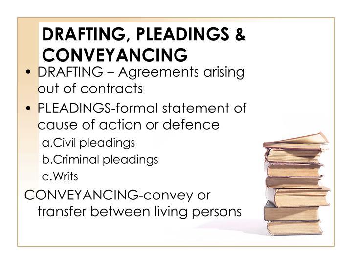 DRAFTING, PLEADINGS & CONVEYANCING