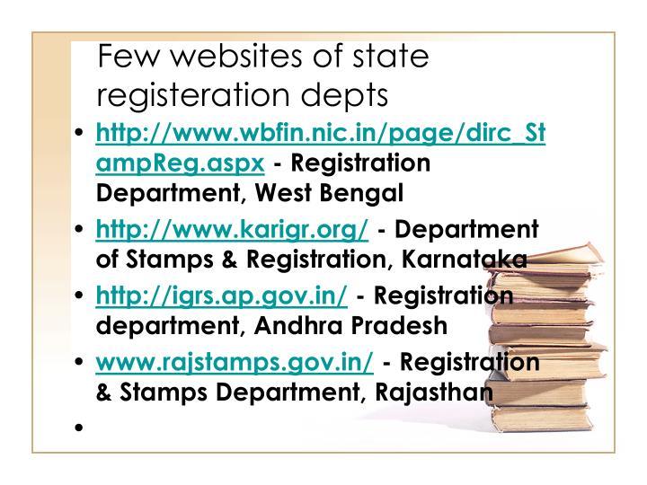 Few websites of state registeration depts
