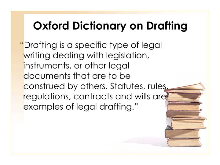 Oxford Dictionary on Drafting