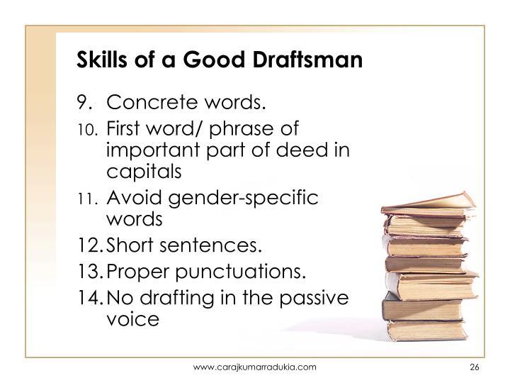 Skills of a Good Draftsman