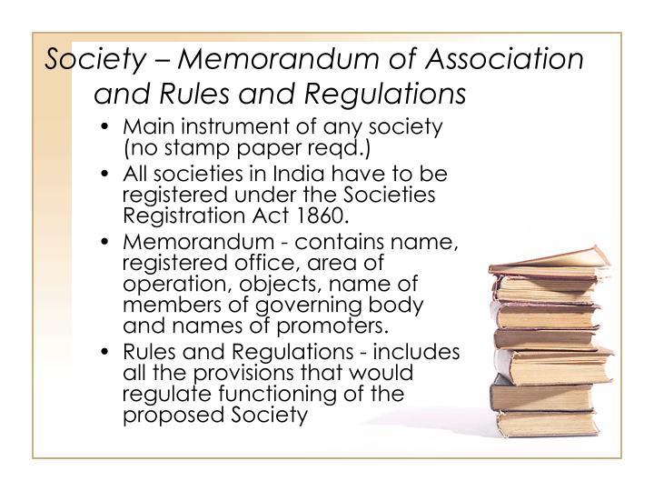 Society  Memorandum of Association and Rules and Regulations