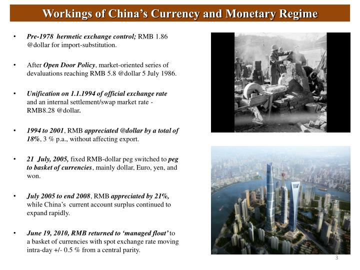 Workings of China's Currency and Monetary Regime