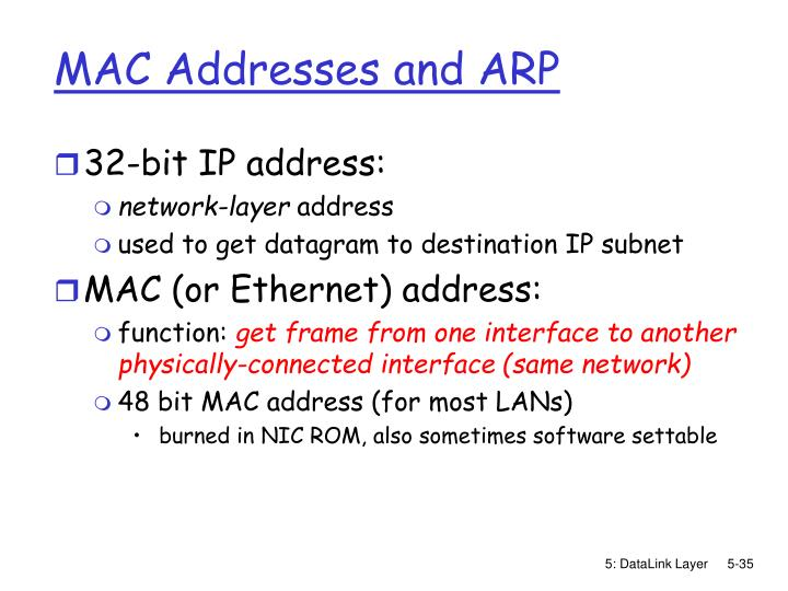 MAC Addresses and ARP