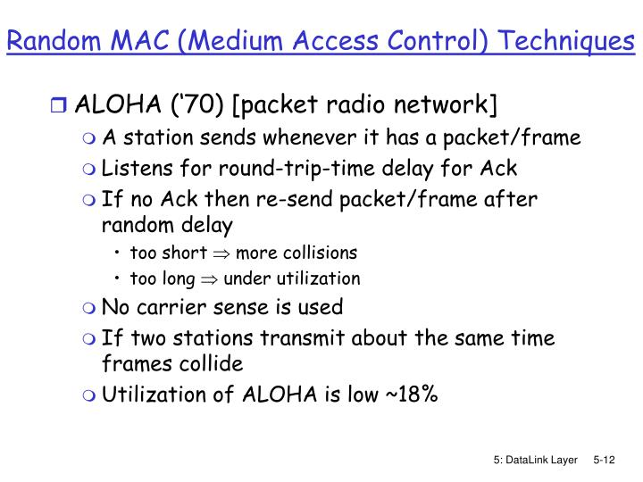 Random MAC (Medium Access Control) Techniques
