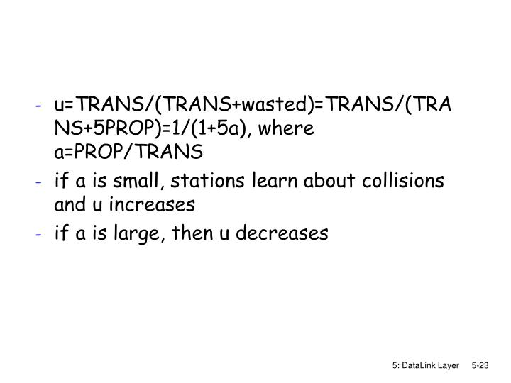 u=TRANS/(TRANS+wasted)=TRANS/(TRANS+5PROP)=1/(1+5a), where a=PROP/TRANS