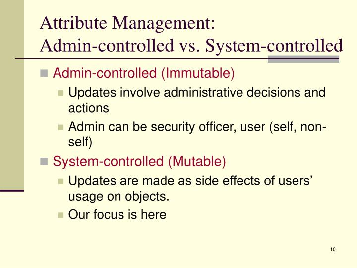 Attribute Management: