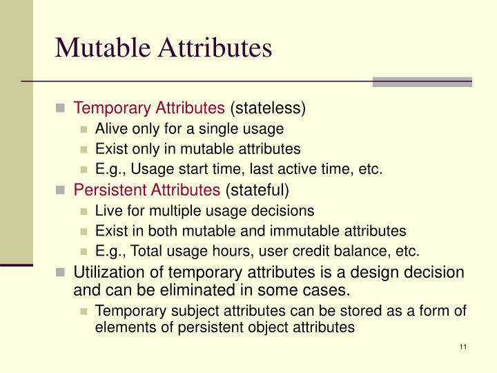 Mutable Attributes