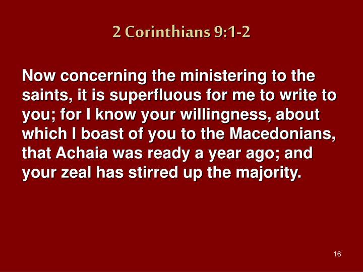 2 Corinthians 9:1-2