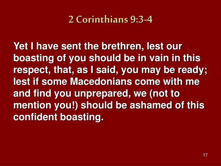 2 Corinthians 9:3-4