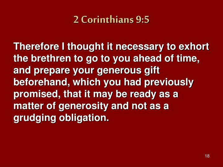 2 Corinthians 9:5