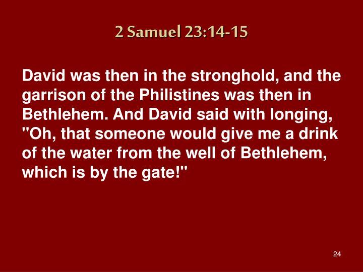 2 Samuel 23:14-15