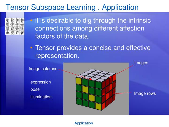 Tensor Subspace Learning . Application