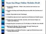 team san diego online modules draft