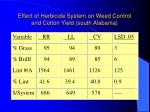 effect of herbicide system on weed control and cotton yield south alabama
