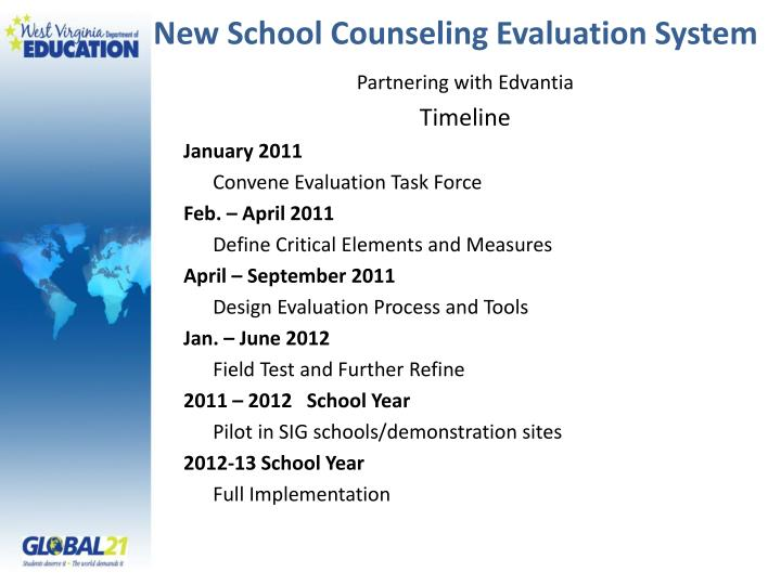 New School Counseling Evaluation System