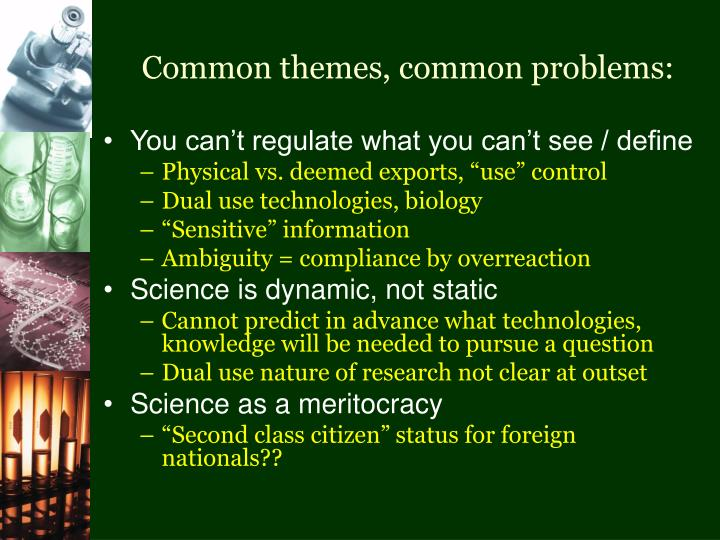 Common themes, common problems:
