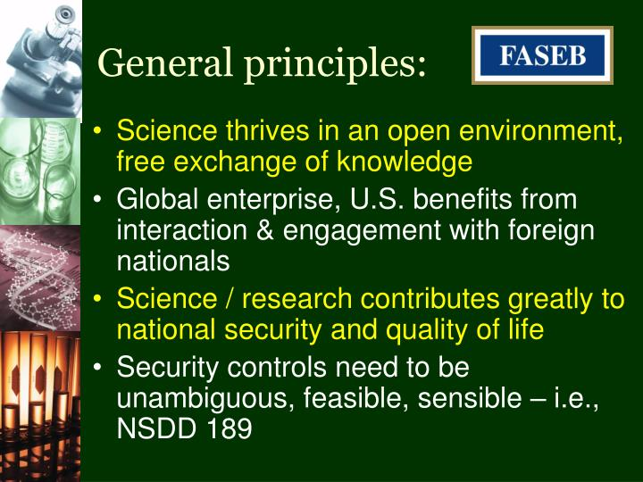General principles: