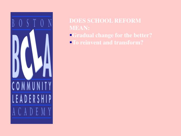 DOES SCHOOL REFORM MEAN:
