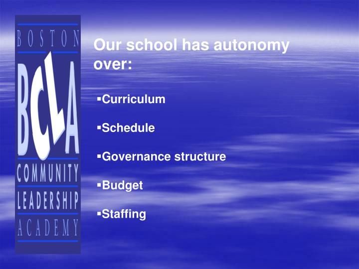 Our school has autonomy over: