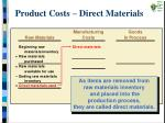 product costs direct materials