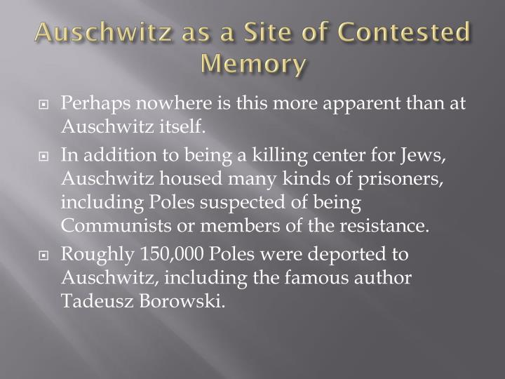 Auschwitz as a Site of Contested Memory