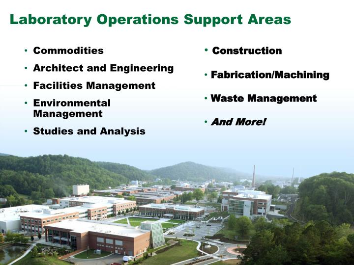 Laboratory Operations Support Areas
