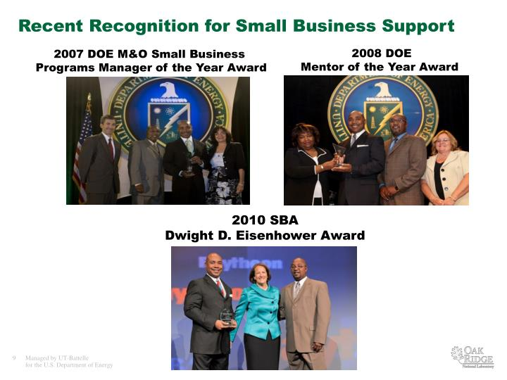 Recent Recognition for Small Business Support