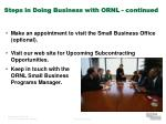 steps in doing business with ornl continued