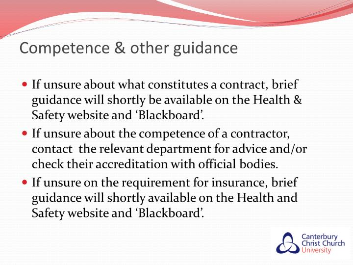 Competence & other guidance