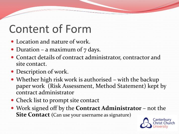 Content of Form