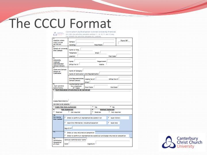 The CCCU Format
