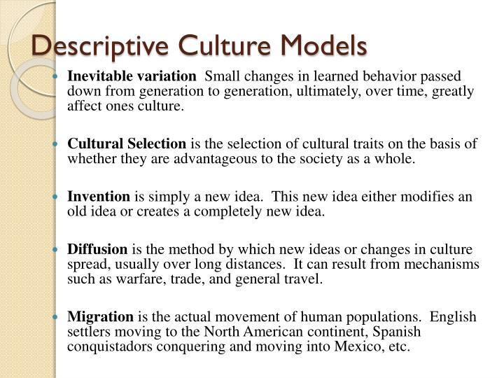 Descriptive Culture Models