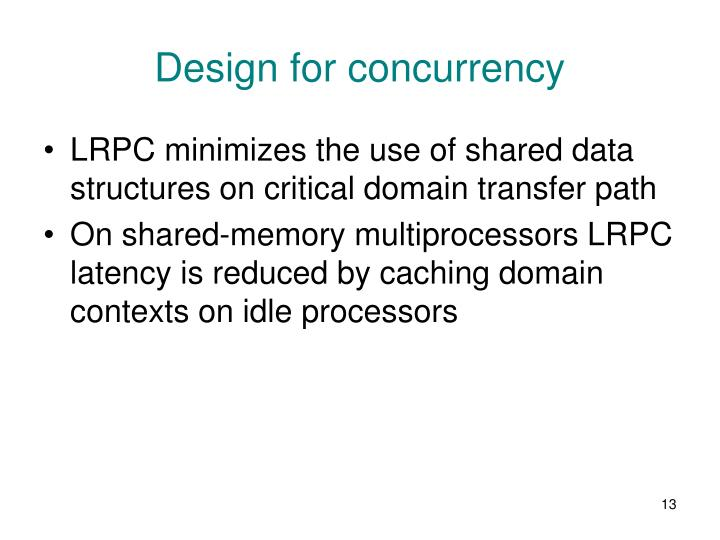 Design for concurrency