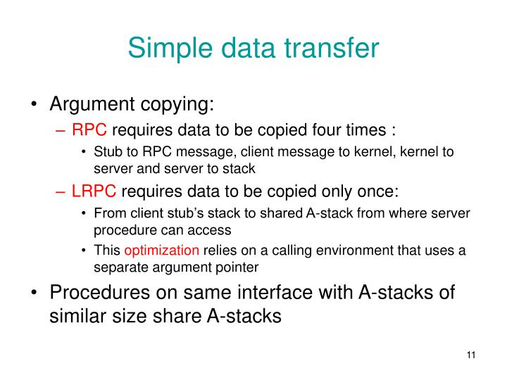 Simple data transfer