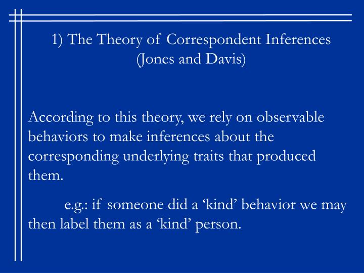 1) The Theory of Correspondent Inferences