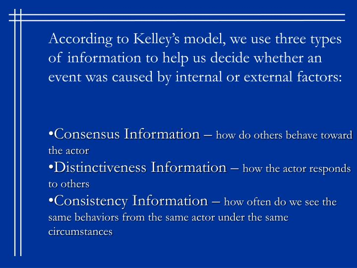 According to Kelley's model, we use three types of information to help us decide whether an event was caused by internal or external factors: