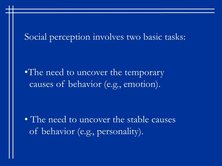 Social perception involves two basic tasks: