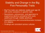 stability and change in the big five personality traits