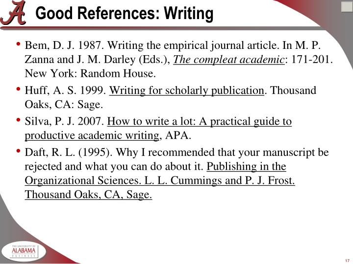 Good References: Writing